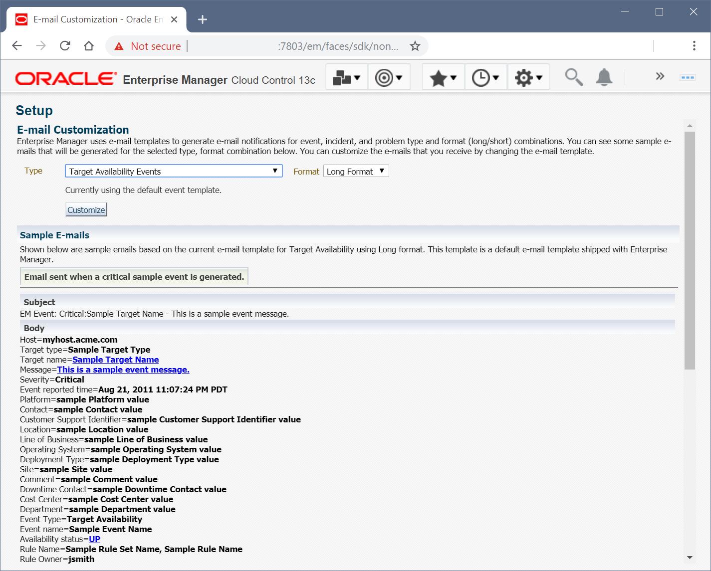 Customizing Oracle Enterprise Manager 12c 13c Email