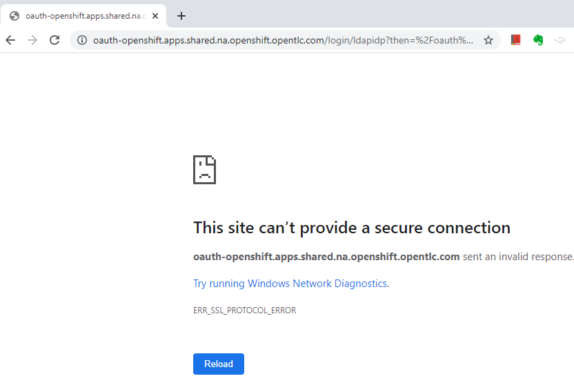 Security protocol error in browser
