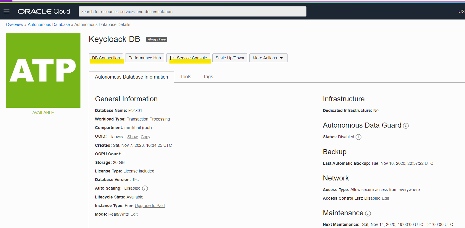 """Image depicts database instance description with two highlighted buttons """"DB Connection"""" and """"Service Console"""""""