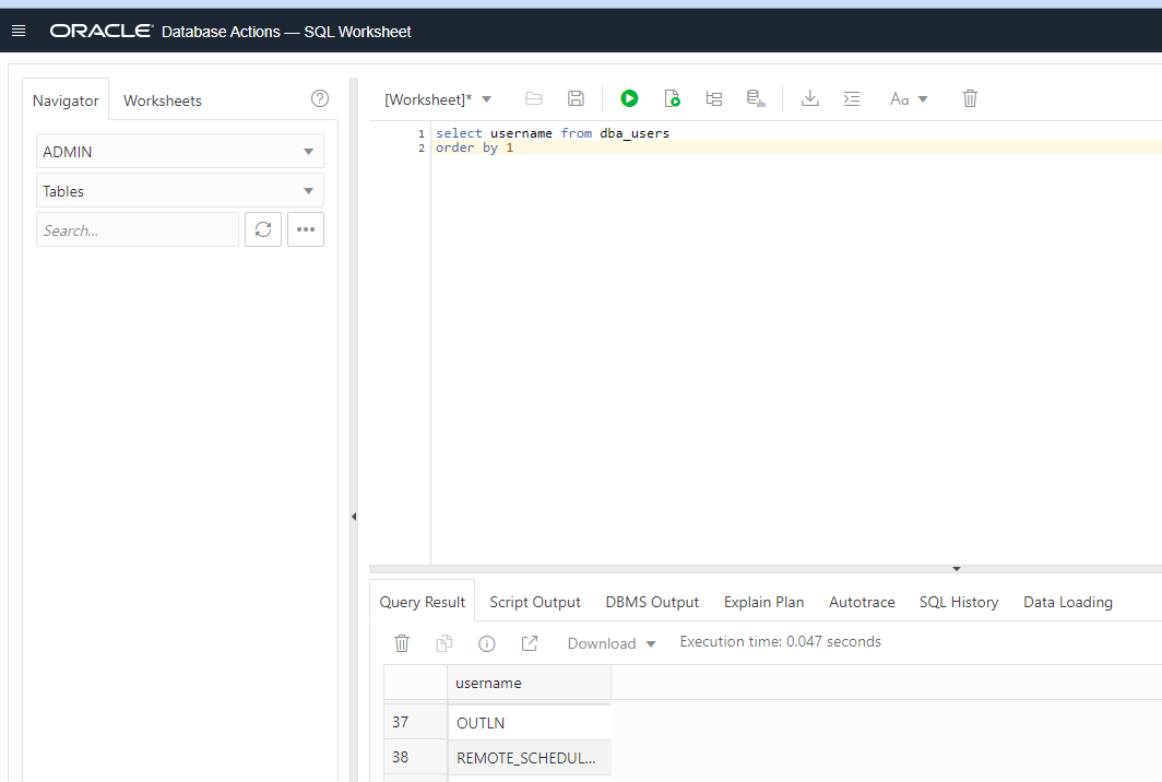 image displays part of the SQL Developer WEB interface with worksheet, query and results